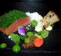 Cured then smoked & sous vide salmon, dill, textures of rye bread